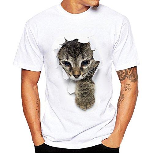 Tシャツ POTOJP カップル服 メンズ レディース ホワイト tシャツ 春夏着服 大きいサイズ 面白い 穴を破る 猫ちゃん柄 快適 半袖 トップス オシャレ シンプル カジュアル 薄手 きれいめ ネコスレーブ ロンt (男: 登ってきた猫, 3XL)