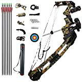 ATROPOS-131 プロ狩猟弓アーチェリー複合右利きボウセット、張力40-55lbs、黒