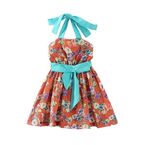 LittleSpring夏 ガールズ 女の子 小花柄 リボン付き ビーチワンピース べアトップ ビーチスカート 140