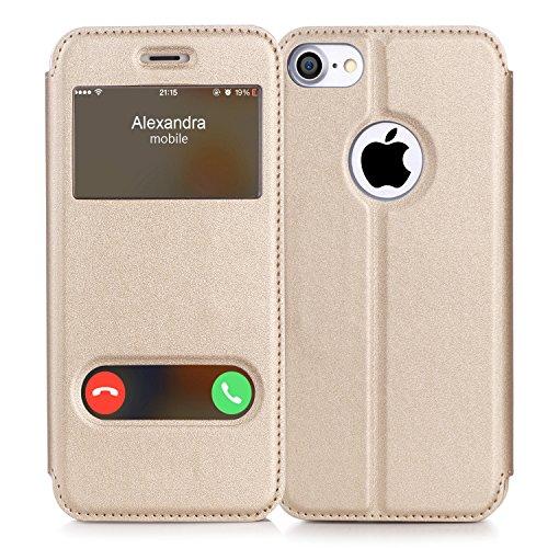 iPhone7ケース アイフォン7ケースFyy ハンドメイド 良質PUレザーケース 軽量 超薄型 横開き 手帳型 窓付き ダブルウィンドウ 横置きスタンド機能付き マグネット式 スマートケース ゴールド