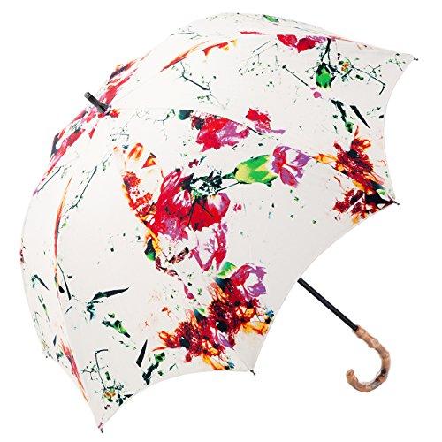 【Rose Blanc】100%完全遮光 日傘 プレーン ショートサイズ フラワー 50cm (フラワー)