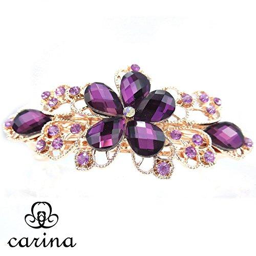 carina(カリーナ) カラフルな バレッタ ジルコニア CZ ビジュー 髪留め 花 フラワー レディース(パープル)