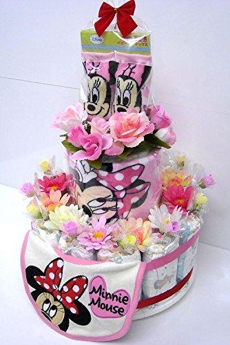 ミニーちゃんのおむつケーキを出産祝いにプレゼント