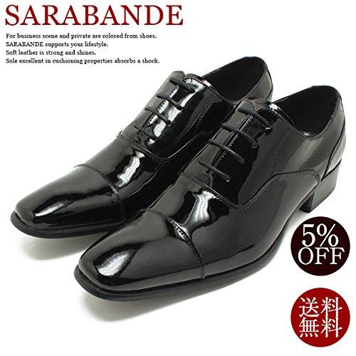 SARABANDE/サラバンド 7770 日本製本革ドレスシューズ ロングノーズ・ストレートチップ ブラックエナメル内羽/革靴/チゼルトゥ/ビジネス/仕事用/メンズ/キングサイズ/5%OFFセール 46/28.0,BlackEnamel