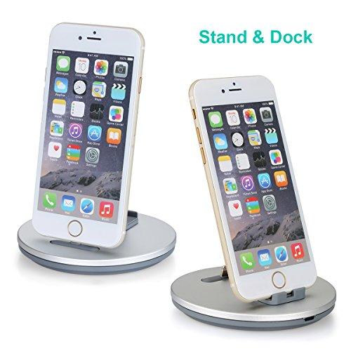 Daite Lightingポート充電&同期ドッキング・ステーションiphone、ipad ipodとアンチスリップ電話用スタンドホルダークレードル(銀色)