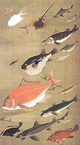 絵画風 壁紙ポスター(はがせるシール式) 伊藤若冲 群魚図 鯛 じゃくちゅう 生誕300年 キャラクロ K-ITJ-028S2 (332mm×603mm) 建築用壁紙+耐候性塗料