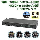 4K60Hz対応 外部音声出力付 4入力1出力 HDMIセレクター RP-HDSW41A-4K