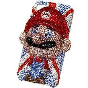 iPhone5 ケース カバー マリオ 立体デコ キラキラ キャラクター ブランド デコ電 ラインストーン  オリジナル 5-0367 アイフォン 保護ケース