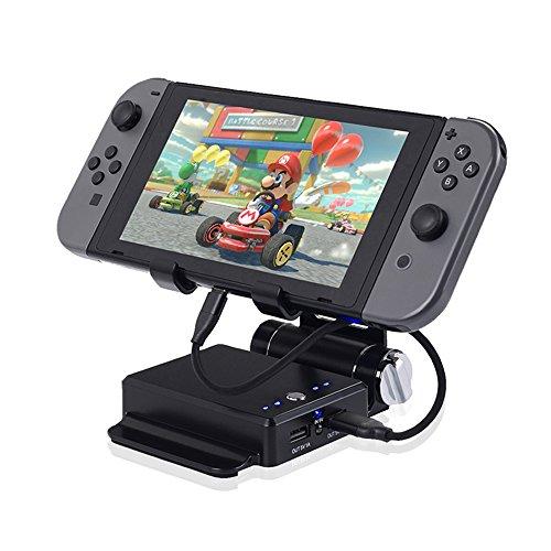KINIVA Nintendo switch 充電スタンド モバイルバッテリー ニンテンドースイッチ 充電器 任天堂switch チャージャー 折り畳み式 (10400mAh 2ポート 大容量) ブラック (ブラック)