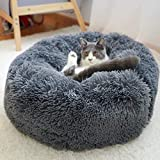 Asiso ペットベット 犬 猫用 クッション ソファ 長い起毛 寝床 あったか (L, グレー)
