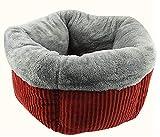 【SRrabbit】洗える ペット用 ベッド クッション 小型犬 猫 ふわモコ ハウス 防寒 保温 伸縮性に富んだ暖かいベッド (レッド)