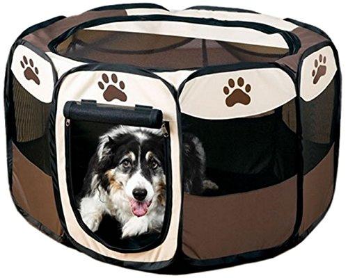 【 簡単 設置 】 折り畳み ペット サークル 犬 猫 兼用 W ファスナー コンパクト メッシュ MI-PETCIR (Mサイズ)