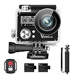 Vemico アクションカメラ 4K ウェアラブルカメラ 防水 カメラ アクションカム WIFI搭載 1600万画素 前面と背面ダブルインチ液晶画面 170度広角 40m防水 スポーツカメラ リモコン付き 2個1050電池式取付自由 自撮り棒付き (ブラック)
