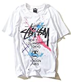 STUSSY ステューシー 大人気 メンズTシャツ 半袖 カジュアル (M, ホワイト) [並行輸入品]
