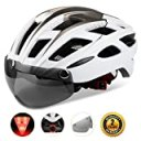 Shinmax自転車ヘルメット, LEDライト付きサイクルヘルメット 安全ライト付き自転車ヘルメット ゴーグル超軽量高剛性自転車ヘルメット ..