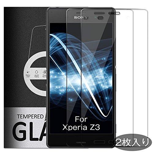 Yelloy Sony Xperia Z3 ガラスフィルム SO-01G/SOL26/401SO 対応 強化ガラス 保護フィルム フィルム 保護ガ...