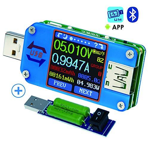 USBテスター USB電圧計、Bluetooth Type C USBテスターメーターUSB電圧メーターおよび電流テスター、1.44インチ5AカラーLCDディスプレイパワーテスターマルチメーター、QC 2.0 3.0 日本語説明書付(UM25C+負荷装置)