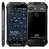 AGM X2 6GB RAM+64GB ROM 4Gスマートフォン 防水防塵耐衝撃 5.5インチ Android 7.1 搭載 スナップドラゴン653 オクタコア デュアルSIM + 指紋認識 + デュアルバックカメラ (ブラック)