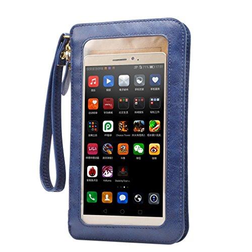 【YR】 携帯電話ポーチ ミニ ショルダーバッグ レディースバッグ ハンドバッグ 上質のレザー 入れたまま触れる 防塵 全面保護 IPhone5S/IPhone SE/Iphone 6S/Iphone 6S Plus/Galaxy/Xperia/AQUOS/ARROWS対応 レディースバッグ カメラポーチ ホルスター ケース アイフォン6/アイフォン6プラスポーチ -ブルー