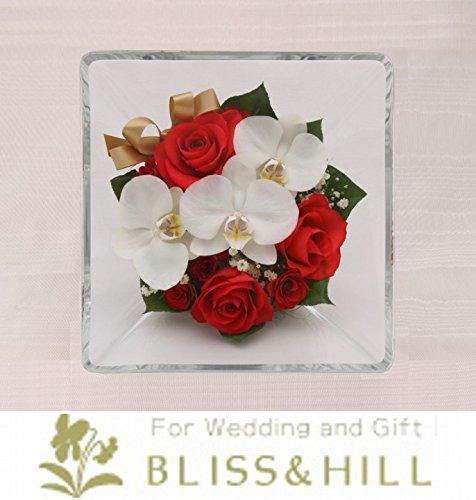 Bliss&Hill  グラスフラワー ジュエルオブロゼ Mサイズ【JM-RK】 バラ(赤)・ミニ胡蝶蘭・ミニバラ(赤)・かすみ草 W20.0  H20.0  D11.0cm 【日本製】