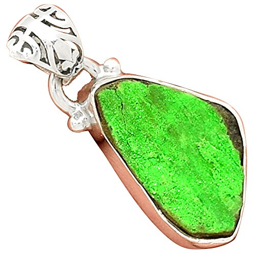 Lovegem 本物の UVAROVITE GREEN GARNET ウバロバイトグリーンガーネット シルバー925ペンダント, 31 mm, AP2844