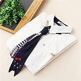 mamamiya 森ガール 萌え レディースワイシャツ ブラウス 長袖 猫の柄のネクタイ 無地 通学 カジュアル おしゃれ ホワイト Mのサイズ