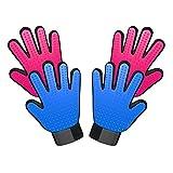 ペットブラシ 抜け毛取り マッサージ グルーミング手袋 グローブセット Ace-meowu お手入れ 猫犬用 長毛短毛適用 通気性抜群 1年品質保証 (ブルーとピンク)