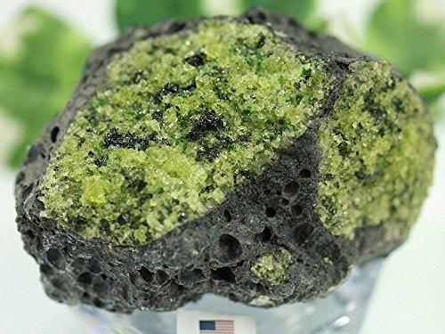 【天然石の島田商事】USAアリゾナ州産 天然原石 ペリドット母岩付き原石(橄欖石 オリビン Peridot Olivine) 約275g 1個/ac-03883