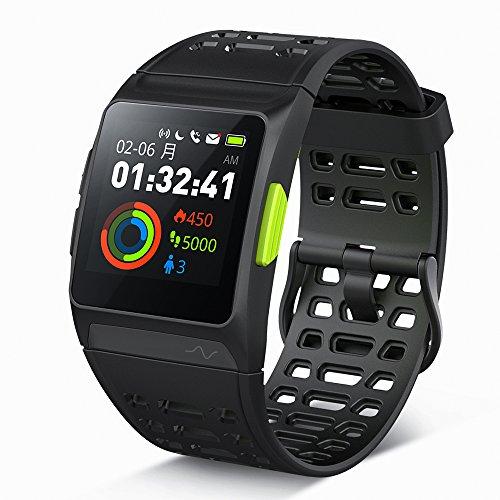 GPS ランニングウォッチ P1 心拍/疲労度/睡眠測定 VO2Max測定 Twitter/LINE/Gmail/電話着信通知 多機能スマ...