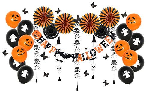 Easy Joy 豪華54点 ハロウィン飾り付けセット ペーパーファン 風船 ガーランド テーブル置物 ウオールステ...