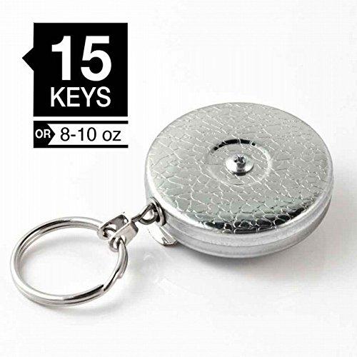 KEY-BAK #5 オリジナルキーリール 60㎝チェーン シルバー ベルトクリップ式