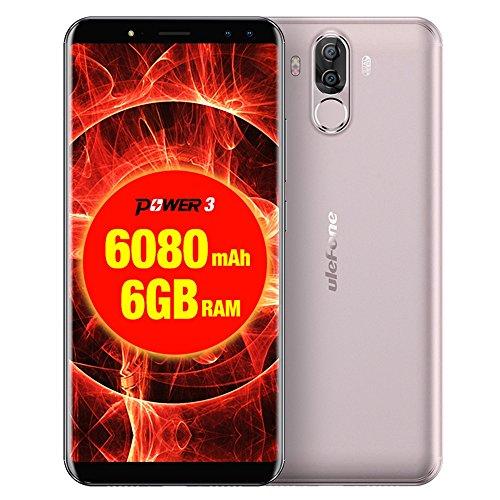 Ulefone Power 3 6GB RAM+64GB ROM 4Gスマートフォン フェイス&指紋認識 6.0インチ Android 7.1 搭載 MTK6763 オクタコア 2.0GHz デュアルSIM + デュアルバックカメラ + デュアルフロントカメラ (ゴールド)