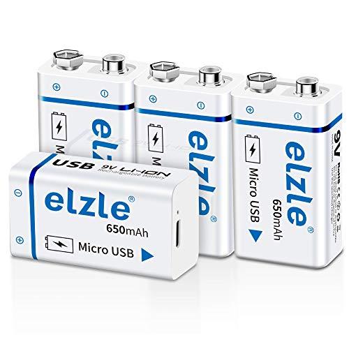 【充電器不要!USB充電可能】9v 電池 USB充電式 elzle 4個 リチウムイオン充電池 650mAh 006p 電池 カメラ/時計/ラジオ/おもちゃ/ギター/屋内煙探知機対応 USBケーブル付き