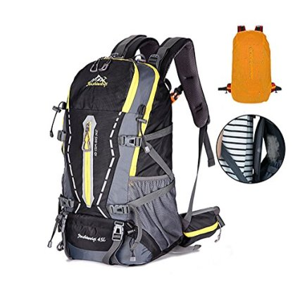 [HUAZHI]登山リュックザック 45L アウトドア サック バックパック スポーツバッグ 通気性 蒸れにくい 大容量 防水 軽量 多機能 旅行 男女兼用 防水カバー付属 豊富な収納ポケット 登山リュック ブラック