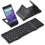 (タッチパッド搭載) 折りたたみ式 Bluetoothキーボード Bookey touch (ブラック) Android/Windows10/iOS iPhone iPad/Mac対応 ワイヤレス コンパクト 技適取得済 半角/全角キー付 日本語説明書付 IPBKYTCBK