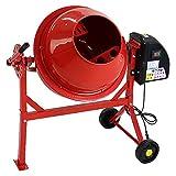 コンクリートミキサー 赤 1.25切 練上量30L ドラム容量63L 電動 モーター式 混練機 攪拌機 かくはん機 コンクリート モルタル 堆肥 肥料 飼料 園芸 タイヤ 車輪 キャスター ミキサー 攪拌 かくはん 混錬 混ぜる 練る レッド RED