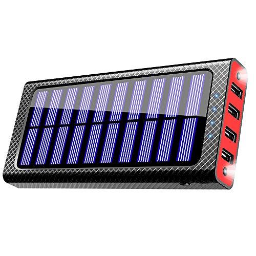 24000mAh 大容量 ソーラーチャージャー モバイルバッテリー 二個LEDランプ搭載 携帯充電器 急速充電可能 四つ出力ポート 4台同時充電でき 三つ入力ポート(Micro/Lightning/Type-C)電気量指示ランプ付き Android/iPhone/iPad/ゲーム機/カメラ等に対応 災害/旅行/アウトドアに大活躍(赤)