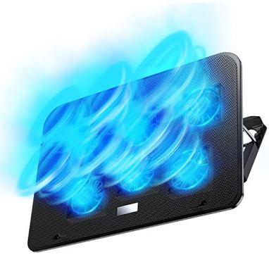 【2019年最新の 6つ冷却ファン 5段階調整 強冷 超静音】 ノートパソコン 冷却パッド 冷却台 ノートPCクーラー クール 超静音 USBポート2口 USB接続 風量調節可 高度調節可 7-17インチ ノートpc/iPad/Macbook/Macbook Pro 等に対応