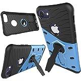 iPhone7 ケース 耐衝撃、LongRise アイフォン7 用 スマートカバー かっこいい ストラップホール付き 360度回転スタンド機能付き 2層構造 ブルー