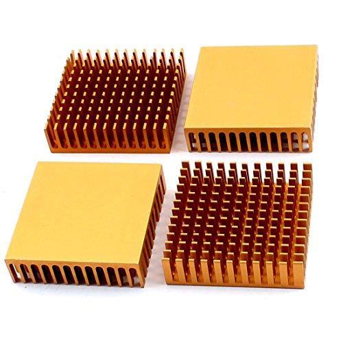 zspowertech ヒートシンク ラジエーターフィン アルミニウム 40×40×11mm ゴールドトーン 4個入り