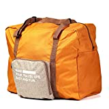 XDJ Life ボストンバッグ トラベルバッグ 折り畳み式 機内持ち込み可 タブルポケット キャリー付き 撥水加工 大容量 収納 整理 旅行グッズ (オレンジ)