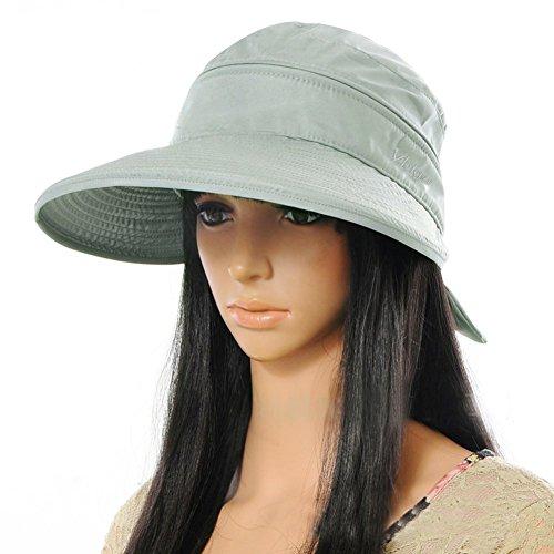 VBIGER サンバイザー レディース 帽子 夏 UVカット 日焼け 紫外線対策 2WAY つば広ハット(グレー)