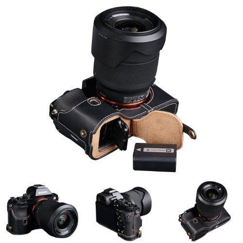 SONY ソニー A7 / A7R 本革レザー カメラケース ハンドストラップ付 - ブラック