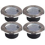 shop-always 4個セット 埋め込み式 ソーラー LED スポットライト 防水対応 ガーデン 玄関 屋外照明 太陽光充電 遊歩道 埋没タイプ 庭 夜間 自動点灯 KSSL300-4ブルー