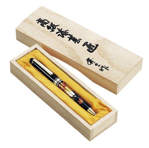 東出漆器 高級蒔絵ボールペン 黒(桐箱入)(R) 1398