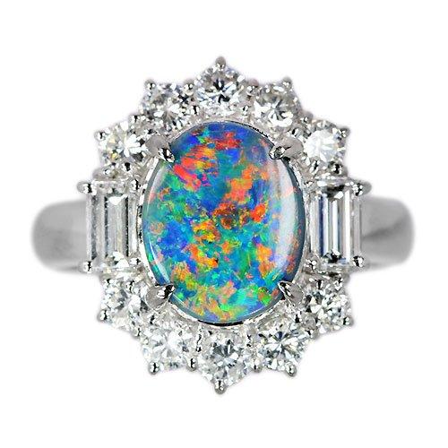 ブラックオパール2ct ダイヤモンド1.1ct プラチナ リング(指輪)