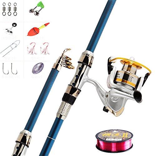 釣り竿 投げ竿 釣具セット 釣りセット カーボン製 ロッド スピニングリール 伸縮 携帯型 海釣り・淡水両用 YA848 2.7m/]