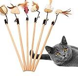 6pcs愛玩用の猫捕手おもちゃ木製ポール装い弾性棒の鐘おかしい猫マウスカボチャ頭フェザーひよこ魚