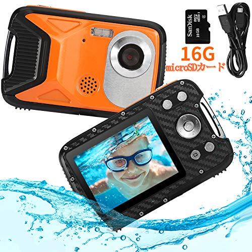 Pellor 子供カメラ トイカメラ キッズカメラ 5M防水機能 800万画素 21MP画素 2.8インチIPS画面 16GB容量Mic...
