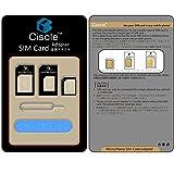 Ciscle Nano SIM MicroSIM 変換アダプター 4点セット iPhone5S/5C/5/4S/4/3GS/3 xperia スマホ 拡張 便利 micro 全部入り 交換 代替 (ブラック)